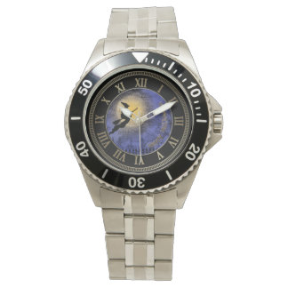 Halloween Full Moon and Witch Wrist Watches