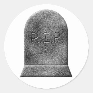 Halloween gravestone rip round sticker