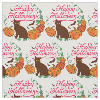 Halloween greetings with black cat fabric