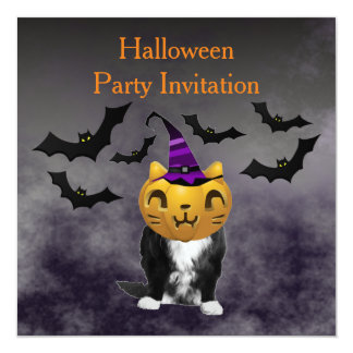 Halloween Grumpy Cat Pumpkin Head Invitation