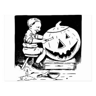 Halloween Jack-O-Lantern carving Postcard