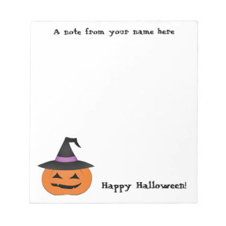 Halloween jack o lantern with witch hat notepad