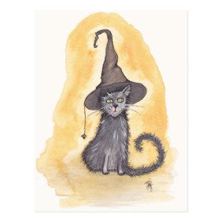 Halloween Kitty Witch Postcard