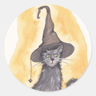 Halloween Kitty Witch Round Sticker
