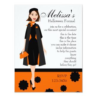 Halloween Lady 11 Cm X 14 Cm Invitation Card
