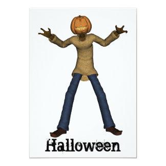 Halloween man with pumpkin head invitation