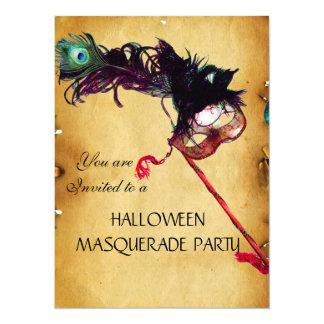 HALLOWEEN MASQUERADE PARTY, parchment 14 Cm X 19 Cm Invitation Card