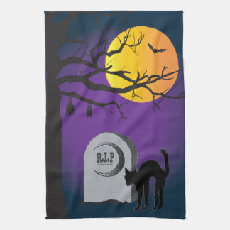 Halloween Moon Black Cat Tombstone Tree Bat Towel
