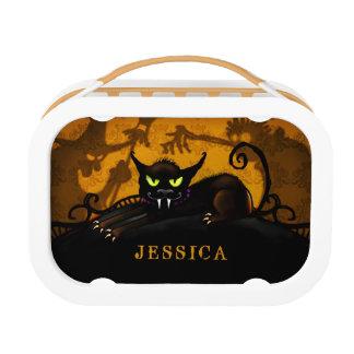 Halloween Orange & Black Cat Scary Lunch Box