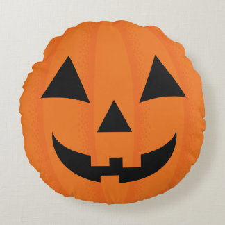 Halloween Orange Carved Happy Pumpkin Face Round Cushion