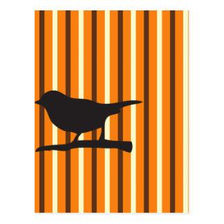 Halloween orange raven bird & branch silhouette postcard