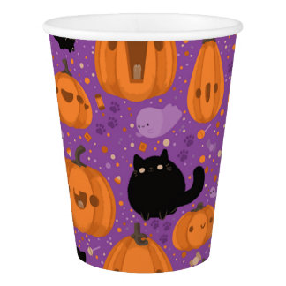 Halloween Paper Cups/Black Cats, Ghost and Pumpkin Paper Cup