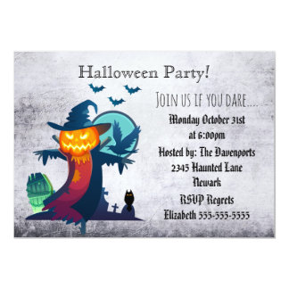 Halloween Party Haunted Scarecrow Invitation