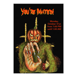 Halloween Party Invitation -Pumpkin Head Scarecrow