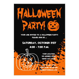 Halloween party invitations with carved pumpkins