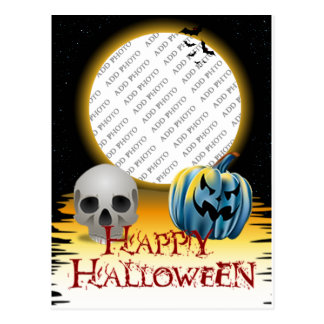 Halloween Photo Frame Skull and Jack o' Lantern Postcard