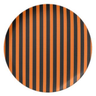 Halloween Plate, Striped Black & Orange Plates