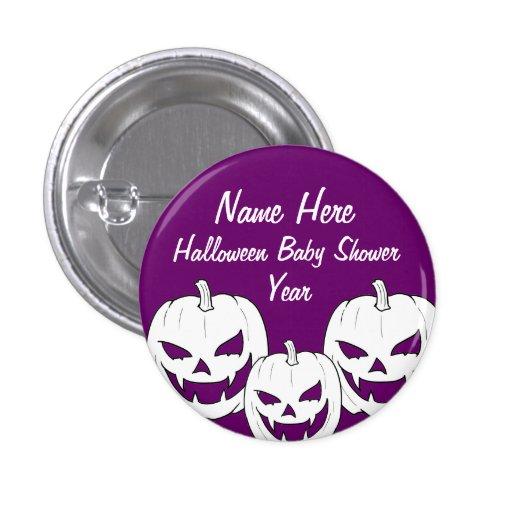 Halloween Pumpkin Baby Shower Buttons
