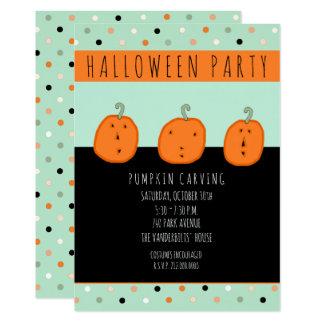 Halloween pumpkin carving party 13 cm x 18 cm invitation card
