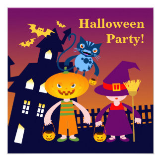 Halloween Pumpkin Head and Witch Invites