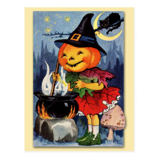 Halloween Pumpkin Head Fairy! Postcard