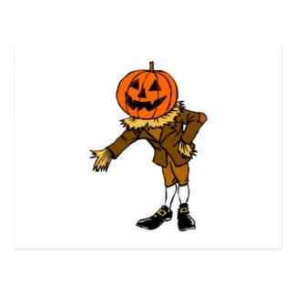 Halloween Pumpkin Head Postcard