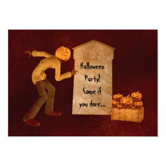 Halloween pumpkin head scarecrow fun party 13 cm x 18 cm invitation card