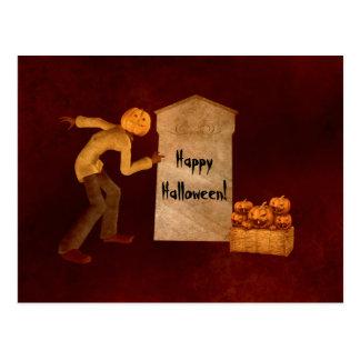 Halloween pumpkin head scarecrow fun postcard