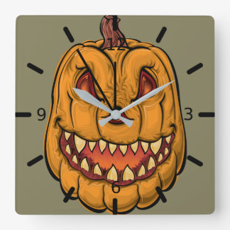 "Halloween ""Pumpkin Head"" Square Wall Clock"