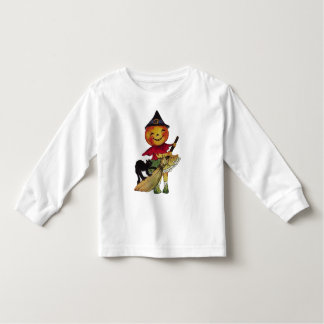 Halloween Pumpkin Head Witch Kid's Long Sleeve Top