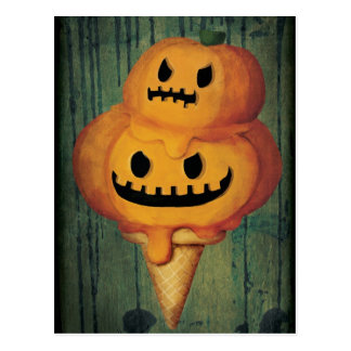 Halloween Pumpkin Ice Cream Cone Post Cards