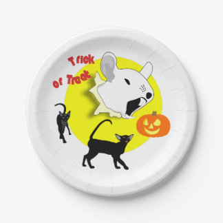 Halloween Pumpkin Mouse and Cats 7 Inch Paper Plate