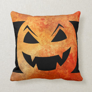 Halloween Pumpkin Orange Textured Evil Head Cushion