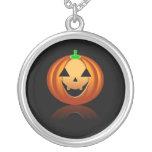 Halloween Pumpkin Round Pendant Necklace