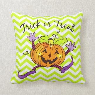 Halloween Pumpkin Treat Zigzag Pillow
