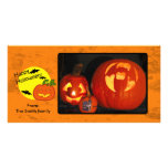 Halloween pumpkin with distressed background photo card template