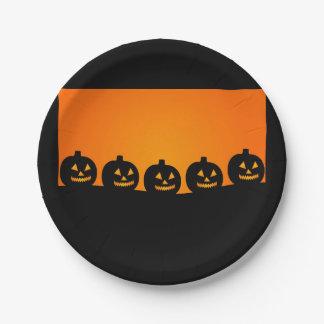 Halloween pumpkins 7 inch paper plate
