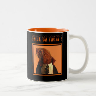 Halloween Rooster Mug, A Visit From Count Dracula Two-Tone Mug