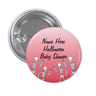 Halloween Skeleton Baby Shower Buttons