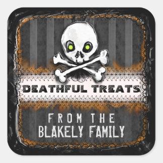 Halloween Skull Black & Orange Custom Treat Label Square Sticker