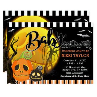 Halloween Smiley Pumpkins Moonlight Baby Shower Card