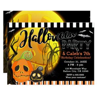 Halloween Smiley Pumpkins Moonlight Costume Party Card