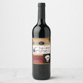 Halloween Spider Spirits Vintage Style Wine Label