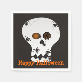 Halloween Spiders on Skull Party Napkins Paper Serviettes