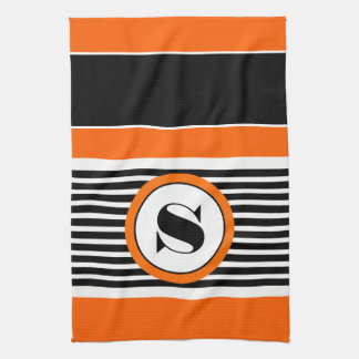 Halloween Stripes w/Monogram Tea Towel