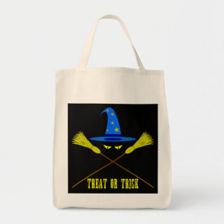 Halloween Treat Or Trick Black Grocery Tote Bag