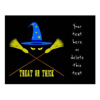 Halloween Treat Or Trick Black Postcard