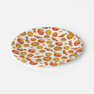 "Halloween Treat Paper Plates 7"" 7 Inch Paper Plate"