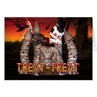 Halloween Treat Vampire Boy with ice cream sunday Card
