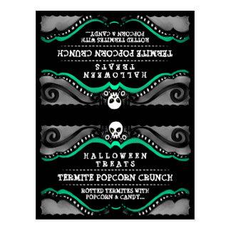 Halloween Treats Food Tent Card Black Green Skull Postcards